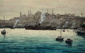 Picture Strait, boat, ship, picture, watercolor, Istanbul, the urban landscape, The Bosphorus, Maximilian DAmico