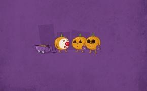Wallpaper Halloween, holiday, car, pumpkin, candy, smiley, Halloween
