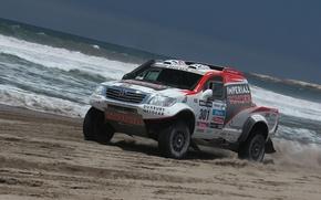 Picture Water, Sea, Machine, Shore, Toyota, Rally, Dakar, SUV