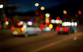 Picture machine, lights, street, the evening, bokeh, .the city