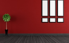 Picture red, wall, ground, white boxes with black frame