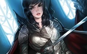 Picture girl, weapons, sword, art, armor