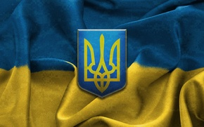 Picture yellow, blue, flag, coat of arms, Ukraine, Trident, Ukraine