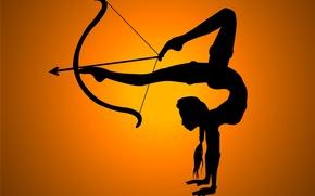 Picture girl, flexibility, shadow, bow, arrow, legs