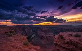 Picture Arizona, Colorado, Horseshoe bend, Colorado, AZ, USA, clouds, The Grand Canyon, rocks, landscape, sunset