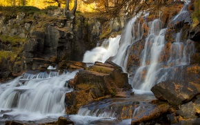 Picture autumn, forest, trees, river, stones, rocks, waterfall, stream
