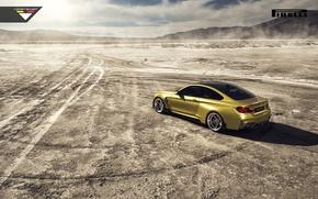 Picture BMW, Car, Vorsteiner, Yellow, Pirelli, Wheels, Desert, Rear, 2015, Skid, GTRS4