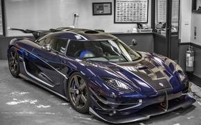 Picture Koenigsegg, Carbon, Blue, Garage, One 1