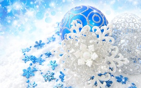 Picture snowflakes, balls, patterns, toys, Shine, New Year, Christmas, the scenery, Christmas, blue, New Year, silver, …