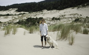 Picture grass, dog, man, sand, shadows, wind, dune, sunny