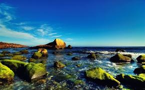 Wallpaper sea, the sky, water, blue, stones