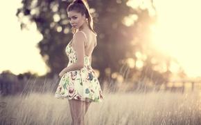 Picture girl, the sun, light, figure, dress, beautiful, Nastya, Panteleeva