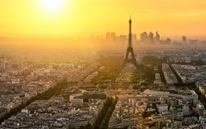 Picture France, Paris, The city, View, Height, Landscape, Skyscrapers, Eyfeleva Tower