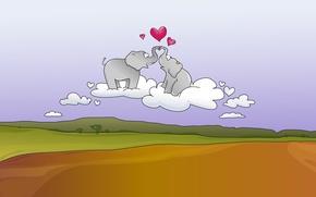 Picture road, love, joy, creative, mood, elephants