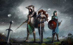 Picture weapons, girls, the wind, sword, art, skin, spear, shield, warrior, armor, Valkyrie