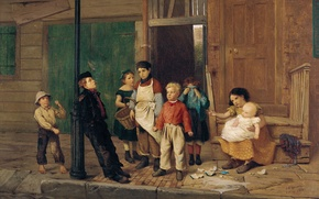 Wallpaper children, street, picture, genre, John George Brown, The Neighborhood Bully