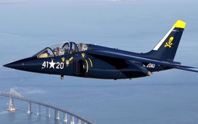 Picture sea, the sky, flight, bridge, retro, the plane, attack, training, Dornier Alpha Jet