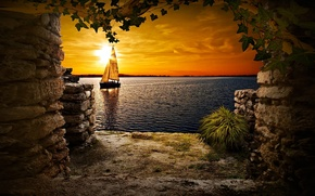 Picture Sunset, lake, cave, sailing