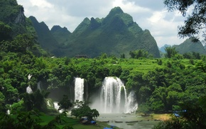 Wallpaper settlement, waterfalls, forest, mountains