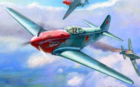 Picture the plane, figure, fighter, USSR, the second world, dogfight, Zhirnov, Yakovlev, The Yak-3