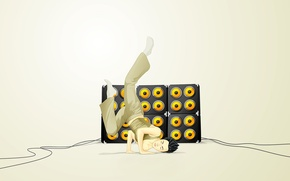 Wallpaper music, dance, minimalism, Vector, speakers