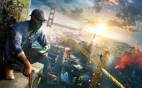 Picture The sky, Clouds, Bridge, The city, Glasses, Machine, Graffiti, Crane, Camera, San Francisco, Roof, Ubisoft, …