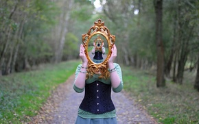 Picture forest, girl, reflection, the way, dress, mirror