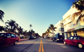 Picture road, auto, the sky, palm trees, street, Miami, FL, Miami, florida, hotels, vice city, South …