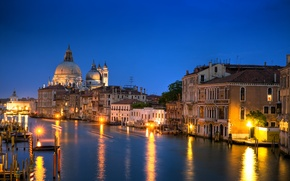 Picture building, home, the evening, lighting, Italy, Venice, architecture, The Grand canal, Canal Grande