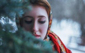 Picture winter, girl, snow, mood, photo, new year, beauty, spruce, Russia, Siberia, Russian girl, Krasnoyarsk