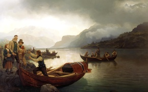 Picture clouds, landscape, mountains, lake, people, boat, picture, genre