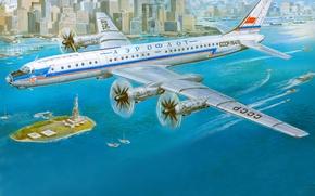 Picture aviation, the city, art, USSR, the plane, New York, Aeroflot, passenger, Soviet, turboprop, Tu-114