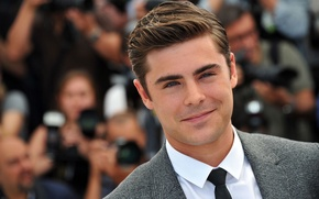Picture look, face, smile, hair, costume, tie, actor, male, shirt, guy, actor, Zac Efron, Zac Efron