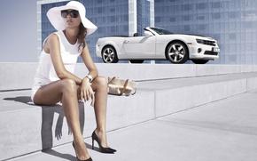 Picture girl, Girls, hat, Chevrolet, glasses, white car