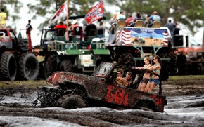 Picture girls, dirt, SUV, Jeep, guys, Wrangler, Ringler, Jeep, its atmosphere