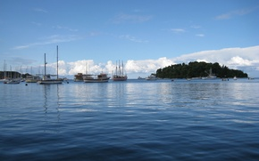 Picture The sky, Sea, Island, Yachts