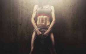 Wallpaper woman, fitness, abs, weight, sportswear