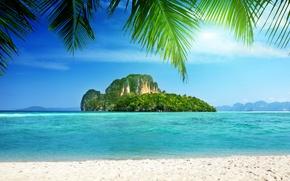 Picture sea, tropics, Palma, rocks, coast, island, rocks, palm trees, tropical, the sea, the coast, the ...