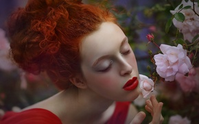 Picture summer, girl, flowers, nature, Bush, roses, branch, dress, red, Agnieszka Lorek