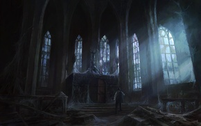 Picture light, castle, people, Windows, web, art, temple, abandonment, gloomy, peteamachree