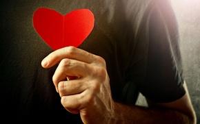 Picture love, background, red, widescreen, Wallpaper, romance, mood, heart, feelings, hand, wallpaper, male, love, guy, heart, ...