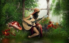 Picture cat, guitar, Girl, brunette, Amanita, river