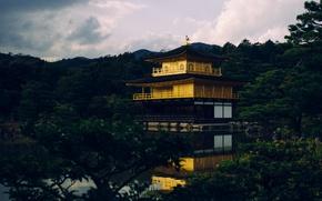 Picture Japan, forest, Kyoto, sky, trees, nature, yellow, clouds, cabin, Kinkaku-ji