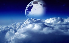 Picture the sky, space, clouds, blue, blue, the moon, planet, space, moon, sky, blue, clouds, planet
