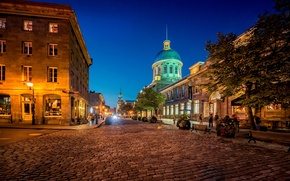 Picture night, the city, lights, street, pavers, Canada, lights, Montreal, Canada, benches, shop, Quebec, QC, Montreal