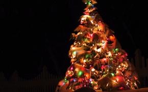 Wallpaper decoration, night, lights, tree, new year