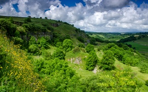 Picture clouds, trees, mountains, landscape, field, England, Millers Dale
