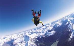 Picture winter, the sky, snow, mountains, river, valley, parachute, container, helmet, skydivers, tandem, extreme sports, parachuting, ...