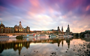 Picture the city, river, building, Marina, boats, morning, Germany, Dresden, Elba, Germany, Dresden, Germany, Elbe