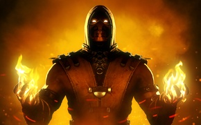 Wallpaper ninja, mortal kombat x, scorpion, mask, fighter, fire
